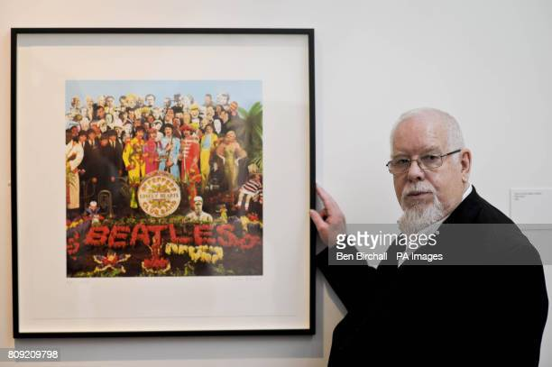 Peter Blake stands beside an image of the Beatles 'Sgt Pepper' album which he designed in his exhibition titled 'A Museum for Myself' in the newly...