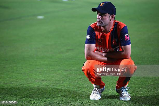 Peter Borren Captain of the Netherlands looks on after the ICC Twenty20 World Cup match between Bangladesh and Netherlands at HPCA Stadium on March 9...