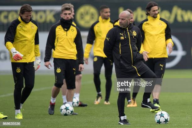 Peter Bosz and team of Borussia Dortmund during the training prior the UEFA Champions League group H match between Borussia Dortmund and APOEL...