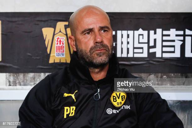 Peter Bosz coach of Borussia Dortmund at University Town Sports Centre Stadium during the 2017 International Champions Cup match on July 18 2017 in...