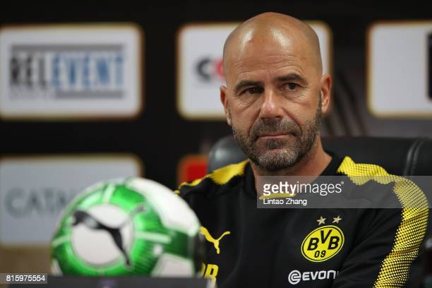 Peter Bosz coach of Borussia Dortmund attends the a press conference ahead of the 2017 International Champions Cup football match between AC milan...