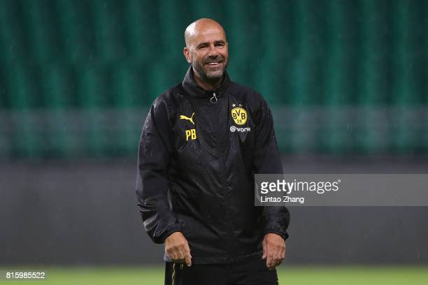 Peter Bosz coach of Borussia Dortmund looks on duirng the training session ahead of the 2017 International Champions Cup football match between AC...