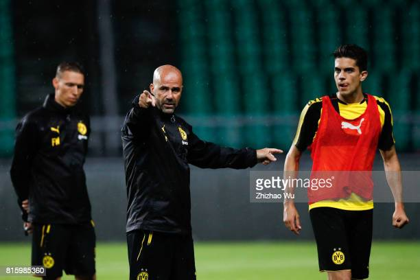 Peter Bosz coach of Borussia Dortmund was training at University Town Sports Centre Stadium on July 17 2017 in Guangzhou China