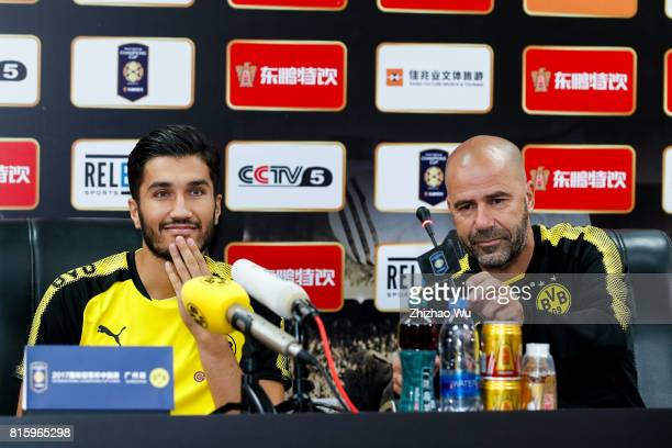 Peter Bosz coach of of Borussia Dortmund and Nuri Sahin attends Press Conference at University Town Sports Centre Stadium on July 17 2017 in...