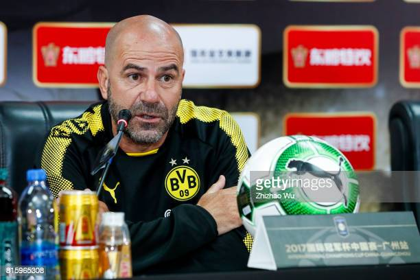 Peter Bosz coach of of Borussia Dortmund attends Press Conference at University Town Sports Centre Stadium on July 17 2017 in Guangzhou China