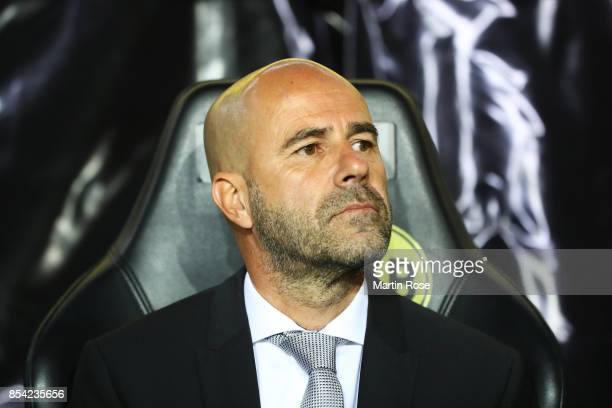 Peter Bosz head coach of Borussia Dortmund looks on prior to the UEFA Champions League group H match between Borussia Dortmund and Real Madrid at...