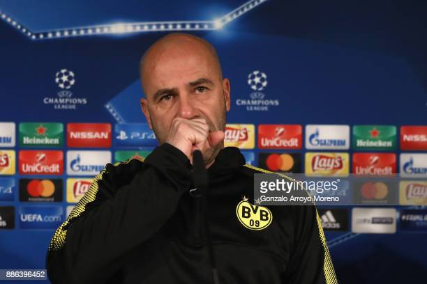 Peter Bosz head coach of Borussia Dortmund reacts during a press conference at Estadio Santiago Bernabeu on December 5 2017 in Madrid Spain