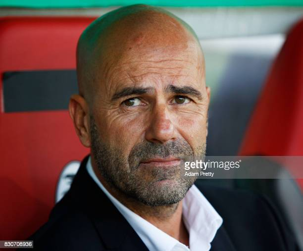 Peter Bosz head coach of Borussia Dortmund sits on the bench during the DFB Cup match between 1 FC RielasingenArlen and Borussia Dortmund at...