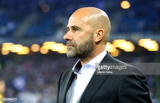 Peter Bosz head coach of Dortmund looks on before the Bundesliga match between Hamburger SV and Borussia Dortmund at Volksparkstadion on September 20...
