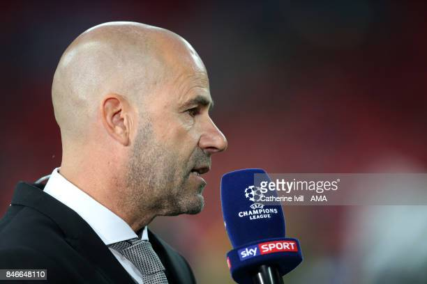Peter Bosz manager / head coach of Borussia Dortmund talks to Sky Sports during the UEFA Champions League group H match between Tottenham Hotspur and...