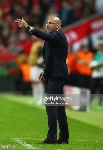 Peter Bosz Manager of Ajax gives his team instructions during the UEFA Europa League Final between Ajax and Manchester United at Friends Arena on May...