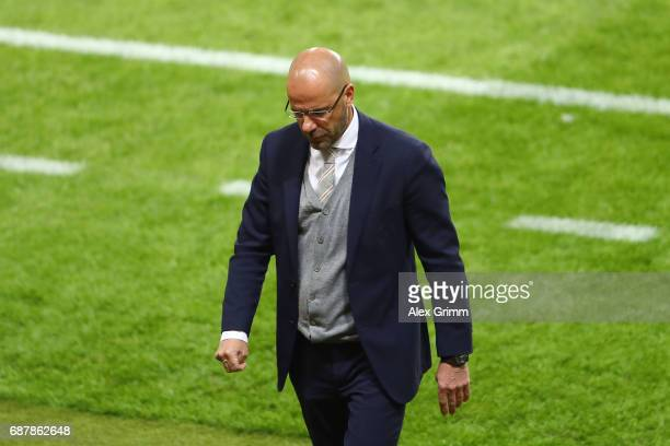 Peter Bosz Manager of Ajax looks dejected during the UEFA Europa League Final between Ajax and Manchester United at Friends Arena on May 24 2017 in...
