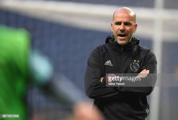 Peter Bosz Manager of Ajax looks on during a training session at The Friends Arena ahead of the UEFA Europa League Final between Ajax and Manchester...