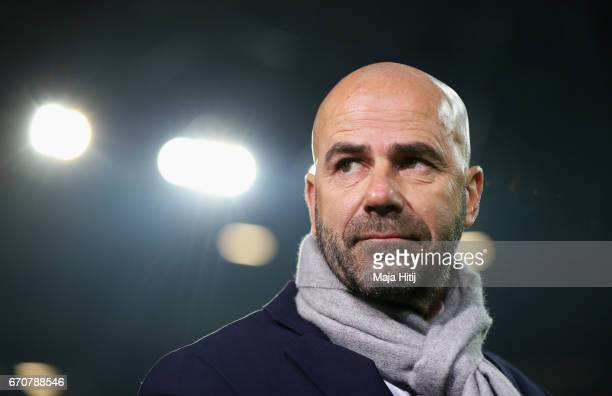 Peter Bosz manager of Ajax looks on prior to the UEFA Europa League quarter final second leg match between FC Schalke 04 and Ajax Amsterdam at...