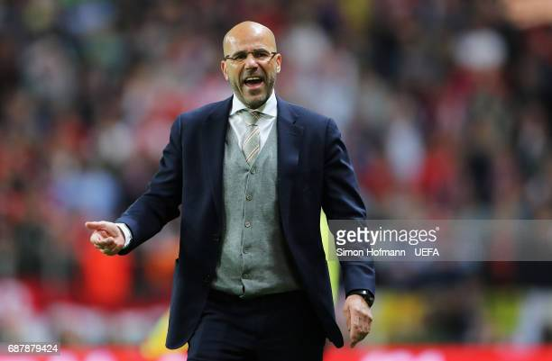 Peter Bosz Manager of Ajax reacts during the UEFA Europa League Final between Ajax and Manchester United at Friends Arena on May 24 2017 in Stockholm...
