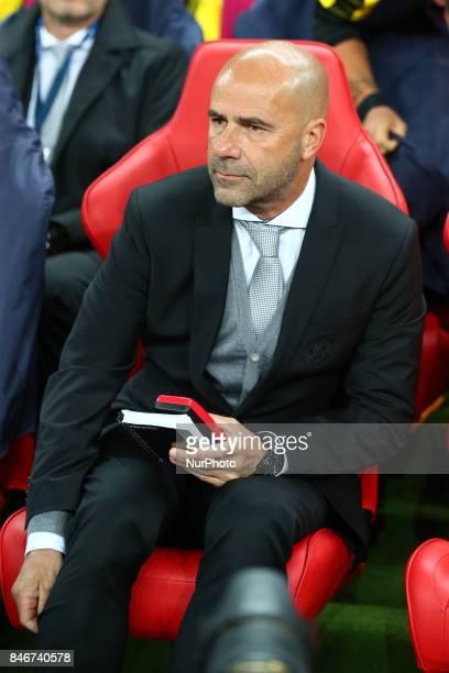 Peter Bosz manager of Borussia Dortmund during Champion League Group H match between Tottenham Hotspur against Borussia Dortmund at Wembley stadium...