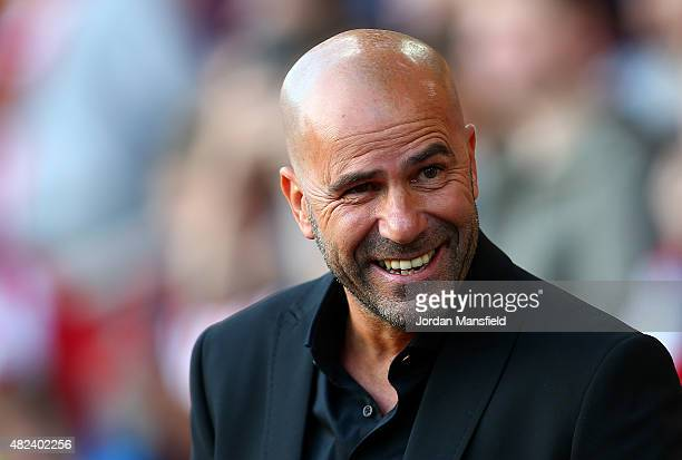 Peter Bosz manager of Vitesse looks on ahead of the UEFA Europa League Third Qualifying Round 1st Leg match between Southampton and Vitesse at St...