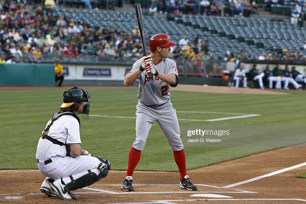 <a gi-track='captionPersonalityLinkClicked' href=/galleries/search?phrase=Peter+Bourjos&family=editorial&specificpeople=4959085 ng-click='$event.stopPropagation()'>Peter Bourjos</a> #25 of the Los Angeles Angels of Anaheim at bat against the Oakland Athletics during the first inning at O.co Coliseum on April 29, 2013 in Oakland, California. The Oakland Athletics defeated the Los Angeles Angels of Anaheim 10-8 in 19 innings.