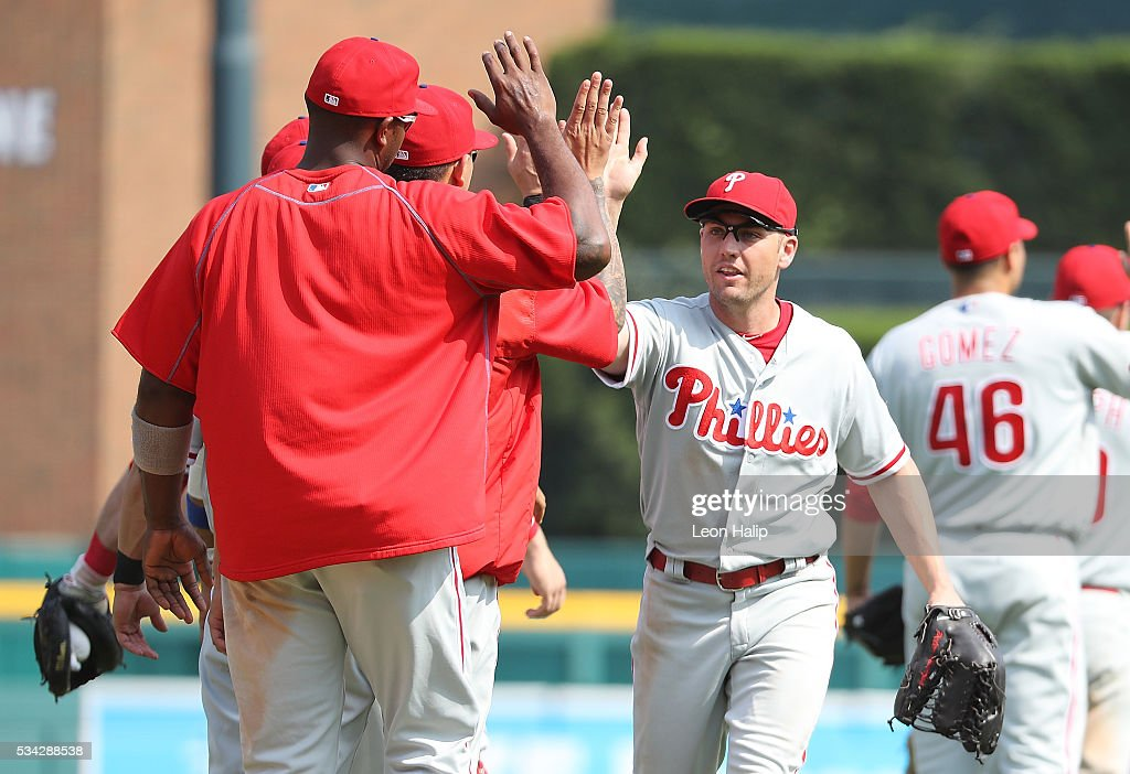 <a gi-track='captionPersonalityLinkClicked' href=/galleries/search?phrase=Peter+Bourjos&family=editorial&specificpeople=4959085 ng-click='$event.stopPropagation()'>Peter Bourjos</a> #17 of the Philadelphia Phillies celebrates a win over the Detroit Tigers during the inter-league game on May 25, 2016 at Comerica Park in Detroit, Michigan. The Phillies defeated the Tigers 8-5.