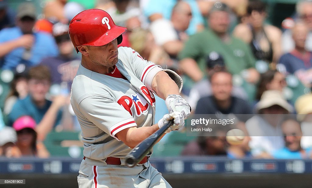 <a gi-track='captionPersonalityLinkClicked' href=/galleries/search?phrase=Peter+Bourjos&family=editorial&specificpeople=4959085 ng-click='$event.stopPropagation()'>Peter Bourjos</a> #17 of the Philadelphia Phillies hits a solo home run to left field during the seventh inning of the inter-league game against the Detroit Tigers on May 25, 2016 at Comerica Park in Detroit, Michigan.