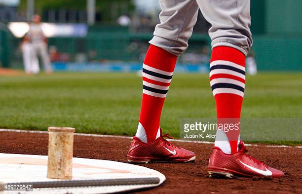 Peter Bourjos of the St Louis Cardinals stands on deck against the Pittsburgh Pirates during the game at PNC Park May 10 2014 in Pittsburgh...