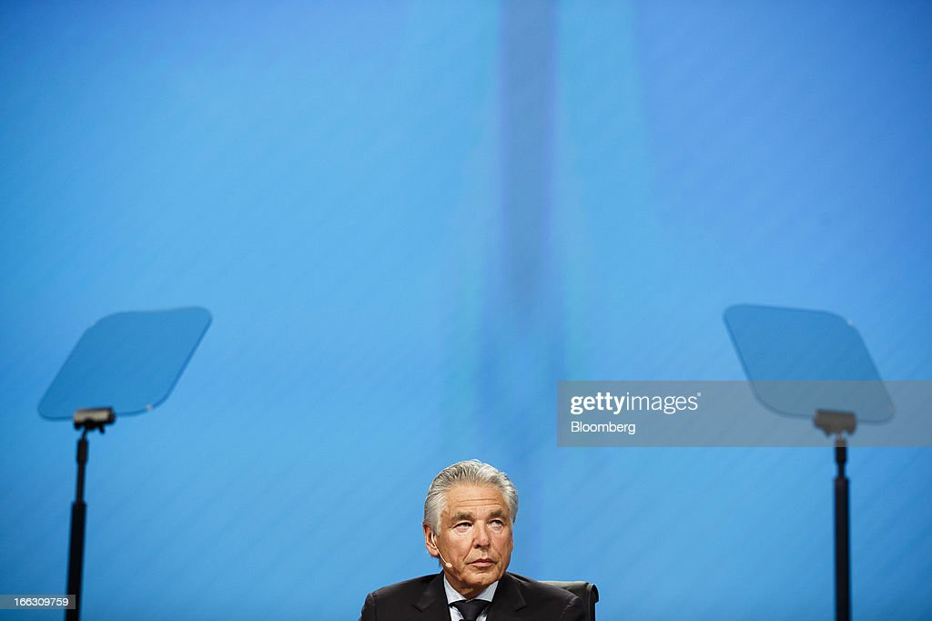 Peter Brabeck-Letmathe, chairman of Nestle SA, pauses during the company's annual general meeting (AGM) in Lausanne, Switzerland, on Thursday, April 11, 2012. Nestle SA's chairman said Switzerland is becoming more difficult as a business location after voters last month approved some of the world's toughest limits on executives' pay. Photographer: Valentin Flauraud/Bloomberg via Getty Images