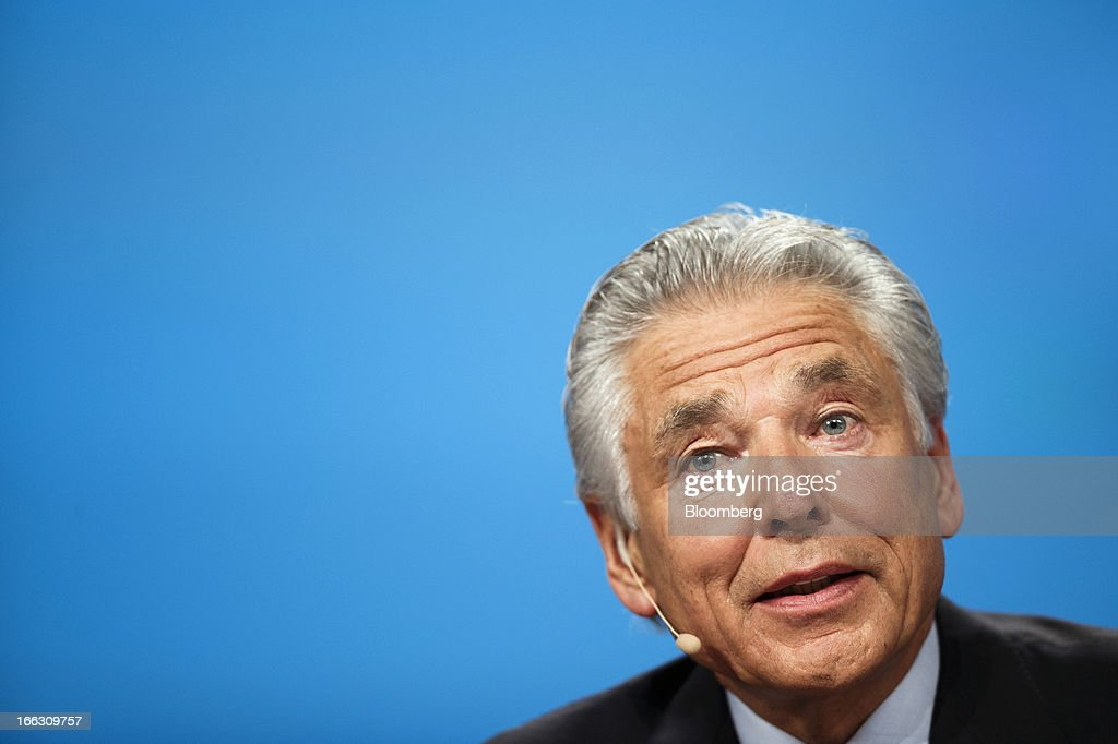 Peter Brabeck-Letmathe, chairman of Nestle SA, speaks during the company's annual general meeting (AGM) in Lausanne, Switzerland, on Thursday, April 11, 2012. Nestle SA's chairman said Switzerland is becoming more difficult as a business location after voters last month approved some of the world's toughest limits on executives' pay. Photographer: Valentin Flauraud/Bloomberg via Getty Images