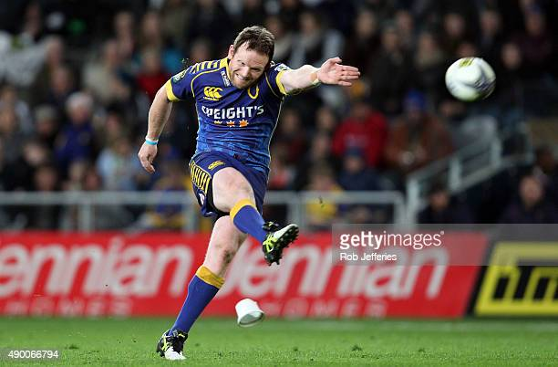 Peter Breen of Otago kicks a goal during the round seven ITM Cup match between Otago and Southland at Forsyth Barr Stadium on September 26 2015 in...