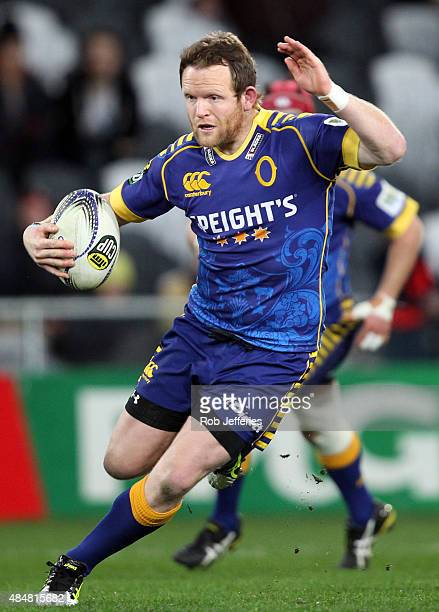 Peter Breen of Otago on the attack during the round two ITM Cup match between Otago and Hawkes Bay at Forsyth Barr Stadium on August 22 2015 in...