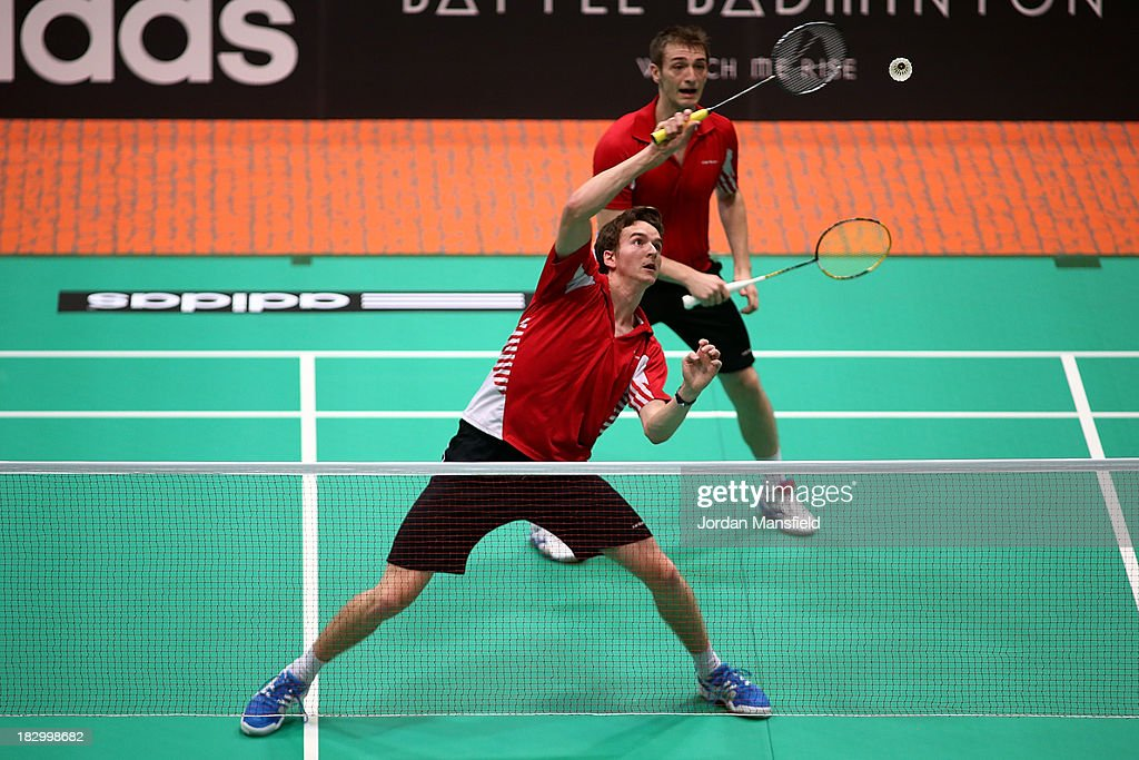 Peter Briggs (L) and Harley Towler (R) of England in action in their mens doubles match against Niclas Nohr and Nikolaj Overgaard of Denmark during Day 3 of the London Badminton Grand Prix at The Copper Box on October 3, 2013 in London, England.