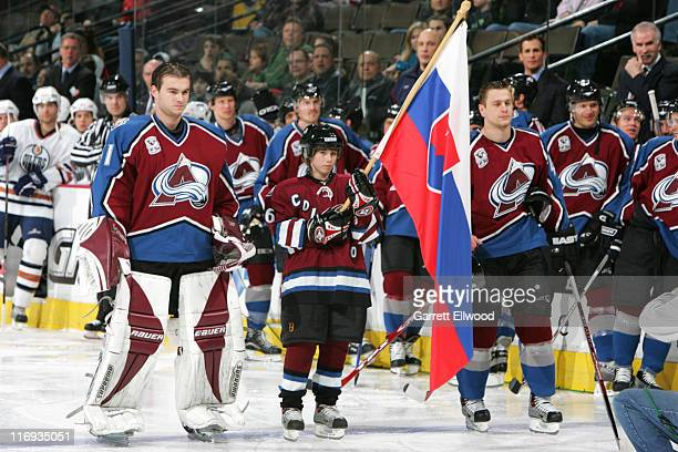 Peter Budaj of the Colorado Avalanche during a ceremony to acknowledge olympians prior to the game against the Edmonton Oilers on February 7 2006 at...