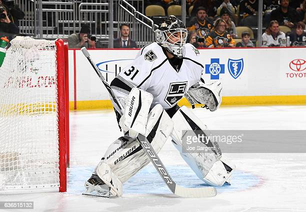 Peter Budaj of the Los Angeles Kings defends the net against the Pittsburgh Penguins at PPG Paints Arena on December 16 2016 in Pittsburgh...