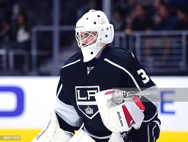 Peter Budaj of the Los Angeles Kings in goal during a preseason game against the Arizona Coyotes at Staples Center on September 22 2015 in Los...