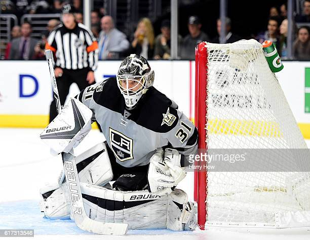 Peter Budaj of the Los Angeles Kings in goal during the third peirod of a 43 overtime shootout win over the Vancouver Canucks at Staples Center on...
