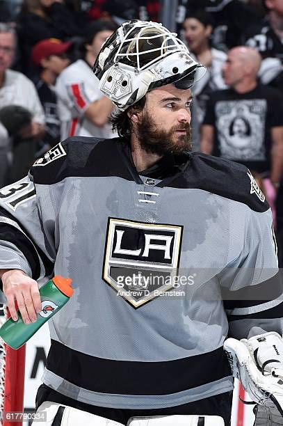 Peter Budaj of the Los Angeles Kings looks on during a game against the Vancouver Canucks at STAPLES Center on October 22 2016 in Los Angeles...