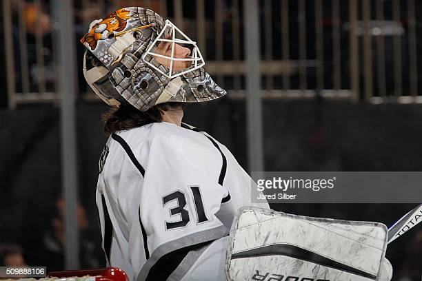 Peter Budaj of the Los Angeles Kings looks on during the game against the New York Rangers at Madison Square Garden on February 12 2016 in New York...