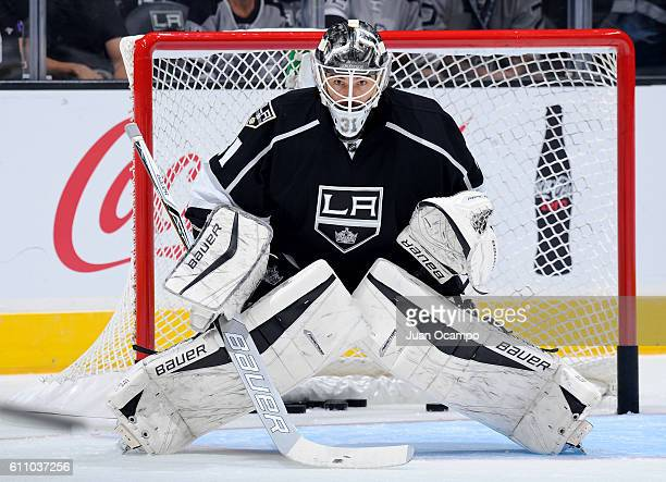 Peter Budaj of the Los Angeles Kings skates during warmups before the game against the Anaheim Ducks on September 28 2016 at STAPLES Center in Los...