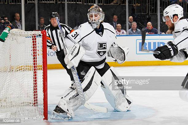 Peter Budaj of the Los Angeles Kings tends the net against the New York Rangers at Madison Square Garden on February 12 2016 in New York City