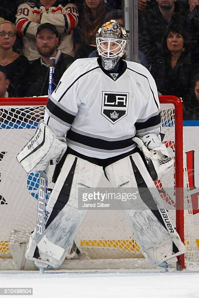 Peter Budaj of the Los Angeles Kings tends the net against the New York Rangers at Madison Square Garden on February 12 2016 in New York City The Los...