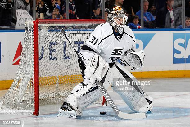 Peter Budaj of the Los Angeles Kings tends the net during pregame warmups before the game against the New York Rangers at Madison Square Garden on...
