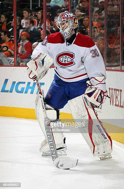 Peter Budaj of the Montreal Canadiens handles the puck against the Philadelphia Flyers on January 8 2014 at the Wells Fargo Center in Philadelphia...