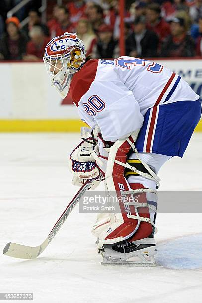 Peter Budaj of the Montreal Canadiens in action against the Washington Capitals during an NHL game at the Verizon Center on November 29 2013 in...