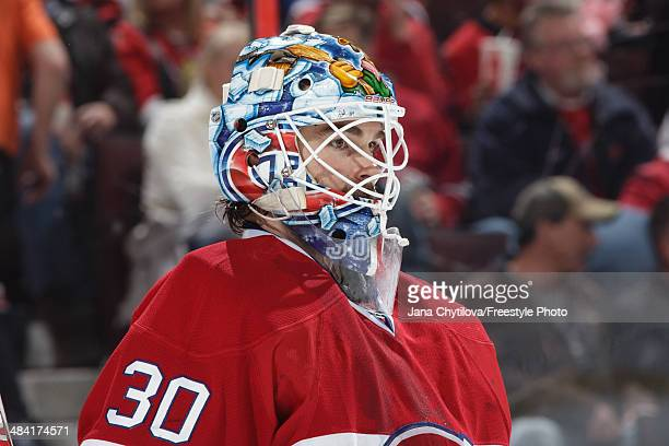 Peter Budaj of the Montreal Canadiens looks on against the Ottawa Senators during an NHL game at Canadian Tire Centre on April 4 2014 in Ottawa...