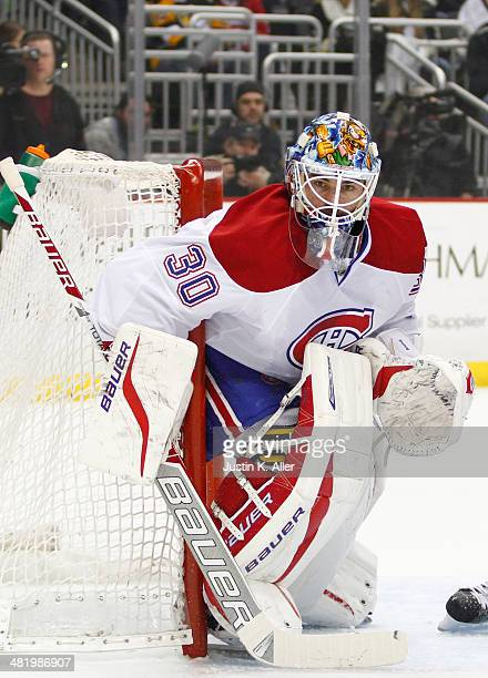 Peter Budaj of the Montreal Canadiens protects the net against the Pittsburgh Penguins during the game at Consol Energy Center on February 27 2014 in...