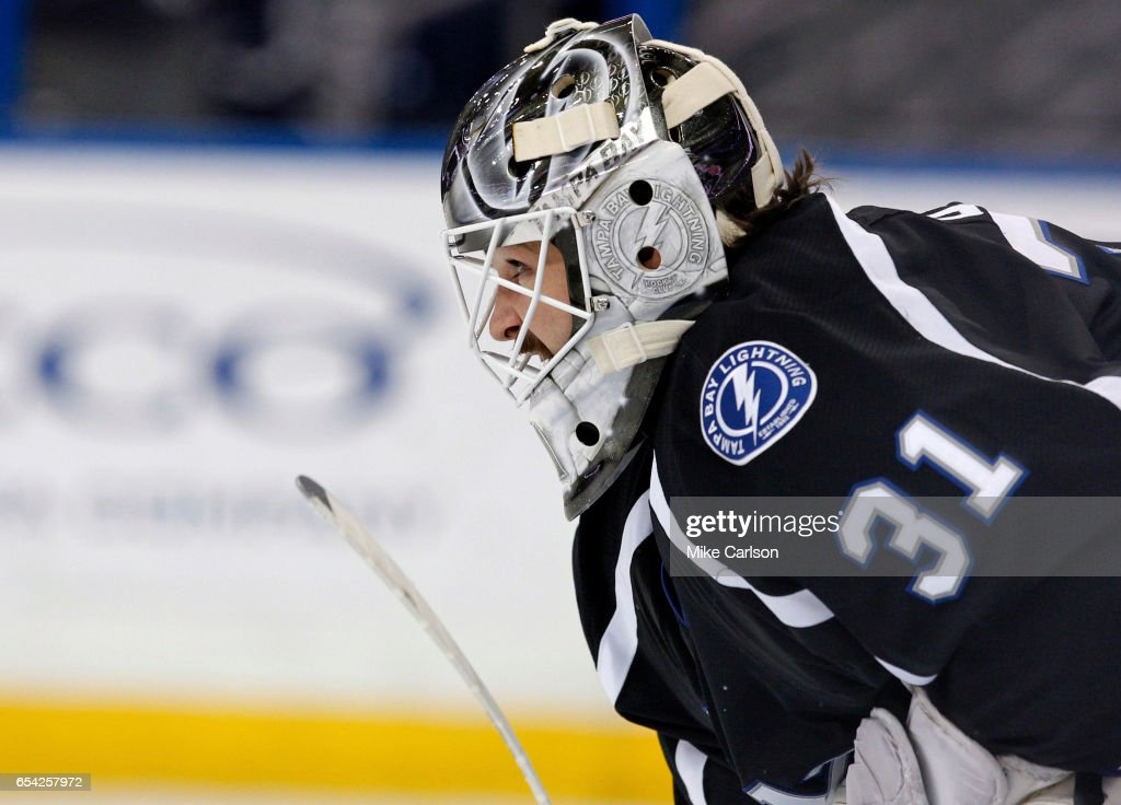 Peter Budaj #31 of the Tampa Bay Lightning watches play against the Toronto Maple Leafs during the third period at the Amalie Arena on March 16, 2017 in Tampa, Florida.