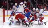 Peter Budaj Thomas Vanek and David Desharnais of the Montreal Canadiens defend the net against Brian Boyle Carl Hagelin and Anton Stralman of the New...