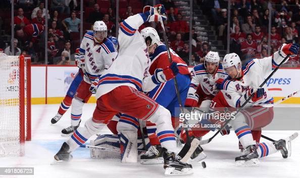 Peter Budaj Thomas Vanek and David Desharnais of the Montreal Canadiens defend the net against Brian Boyle Carl Hagelin and Anton Stralman of the New...