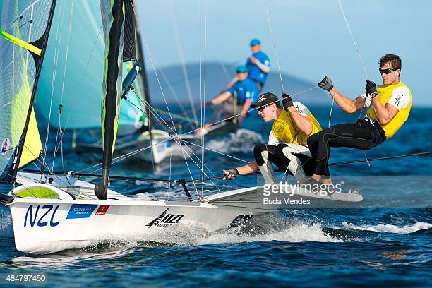 Peter Burling and Blair Tuke of New Zealand sail in the men's 49er FX class medal race on the Pao de Acucar course during the International Sailing...