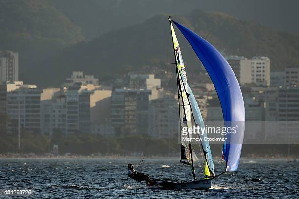 Peter Burling and Blair Tuke of New Zealand sail in the men's 49er class on the Escola Naval course during the International Sailing Regatta Aquece...