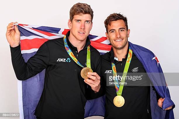 Peter Burling and Blair Tuke pose for a portrait with their Olympic sailing Gold Medals during the New Zealand Olympic Games athlete home coming at...